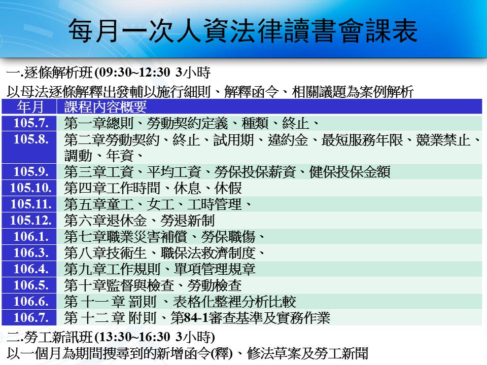 每月一次人資法律讀書會課表